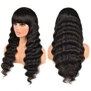 150% густота свободные глубокие волнистые человеческие волосы парики с челкой полная машина сделал парик с челкой Remy бразильские волосы пари...