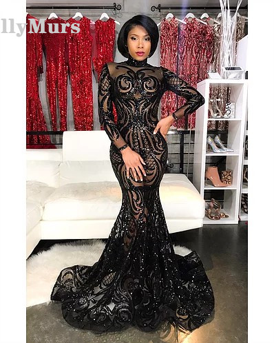 Long Prom Dresses 2019 Sexy Mermaid Style Halter Black Sequin African Girl Women Dress