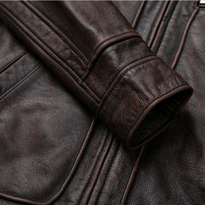 Image 4 - mens Genuine leather distressed motorcycle men real leather jacket 100% Cowhide retro red brown mens Leather Coat 19078 5