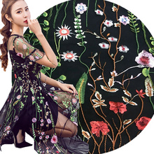 1meter High-grade encrypted mesh embroidery lace fabrics diy dress skirt summer clothing fashion material
