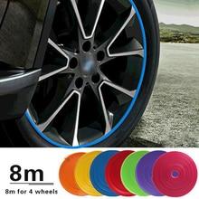 8 м/рулон лезвия с ободом автомобиль Цвет колесные диски протекторы Декор полосы Шин гвардии линии резиновая моундинг отделка шины Guard линии