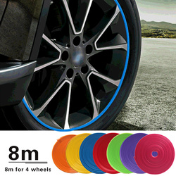 8M / Roll Rim blades Car Vehicle Color Wheel Rims Protectors Decor Strip Tire Guard Line Rubber Mounding Trim Tire Guard Line
