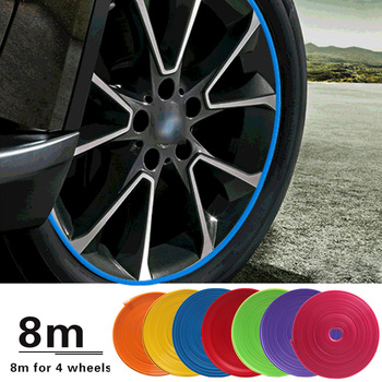 8M / Roll Rim blades Car Vehicle Color Wheel Rims Protectors Decor Strip Tire Guard Line Rubber Mounding Trim Tire Guard Line