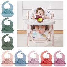 1 Set3 Pcs Solid Colour Baby Silicone Bowl Toddler Feeding Bowl With Bib Spoon Portable Infant Dishes Kids Tableware Supplies