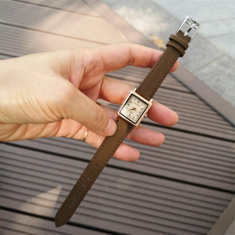 Relojes de Cuero Vintage para mujer, relojes de pulsera de diseño cuadrado a la moda de lujo para mujer, reloj de cuarzo informal pequeño para mujer, Zegarek Damski