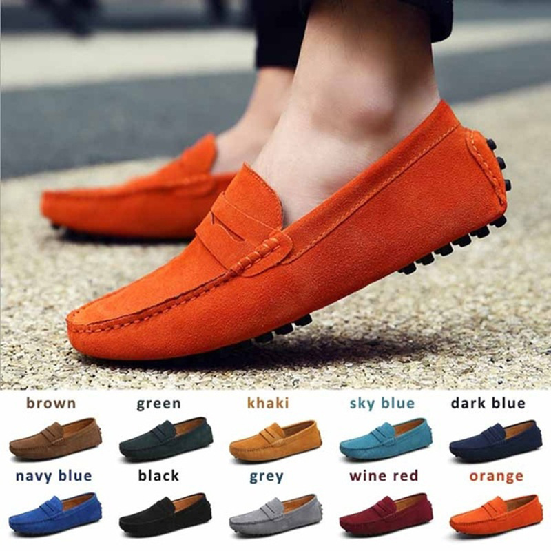 2020 Fashion Men Casual Shoes Brand   Leather   Men Loafers Moccasins Slip On Men's Flats Male Driving Shoes Size 38-49