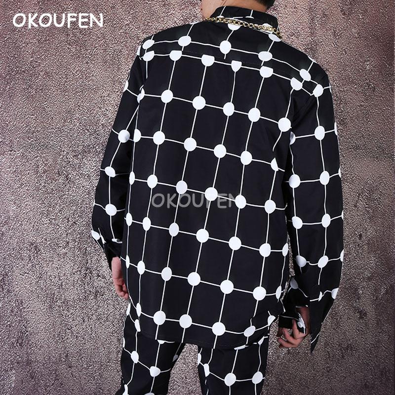 Camisa suelta de hombre hip hop red camisa personalidad de manga larga polka dot camisa de flores marea - 2