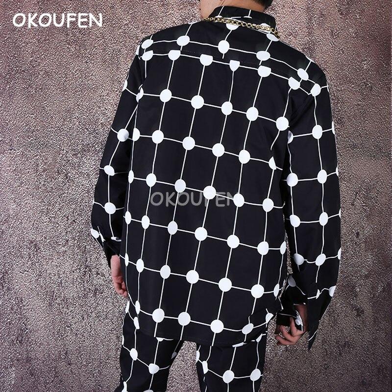 Men's loose shirt hip hop net red shirt personality long sleeve polka dot shirt flower shirt tide - 2