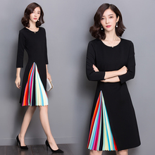 Spring and summer new style Three-quarter sleeve dress Thin color pleated dress black stitching dress pure color 1 2 sleeve pleated dress