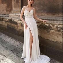 Spaghetti-Strap Wedding-Dress Bridal-Gowns Sweetheart Boho Bohemian Simple Chiffon And