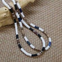 Мужское винтажное ожерелье в стиле бохо, родовой украшенный бусинами, ожерелье из натурального скорлупа кокосового ореха, простое Ювелирно...