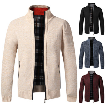 Winter Mens Knitted Sweatercoat Pattern Wool Cardigan Male Casual Velvet Thicken Warm Fleece Sweater For Man Hombre