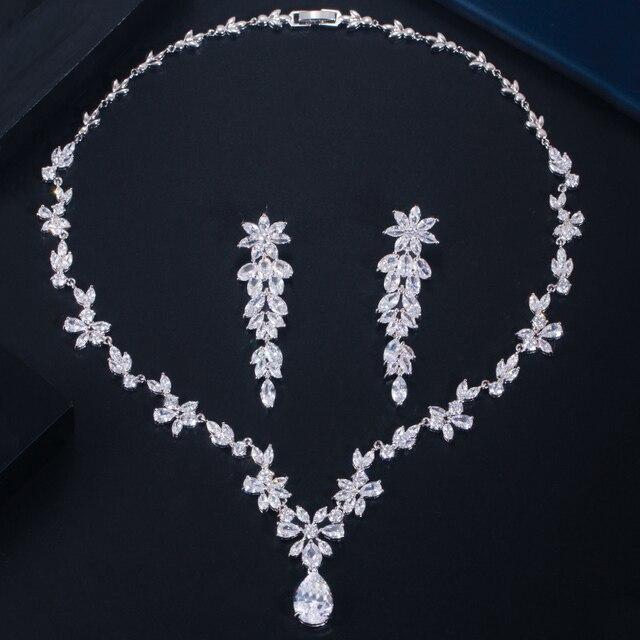 Rose Gold Zirkonia Halskette Set Runde Halo Halskette und Ohrringe Hochzeit Schmuck-Set f/ür Br/äute und Brautjungfern