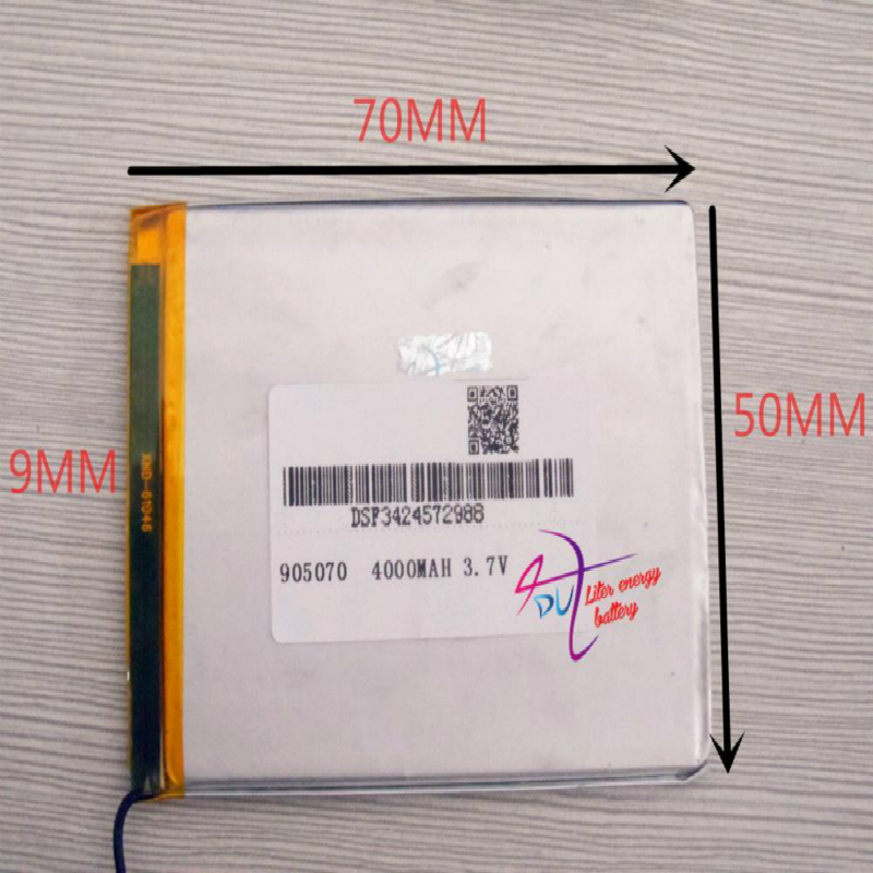Melhor marca 3.7v da bateria, 4000mah 905070 bateria do íon do lítio do polímero/li-íon para aviões modelo, gps, mp3,mp4, telefone celular, alto-falante, bl