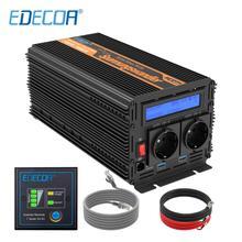EDECOA pure sine wave power inverter DC 12V to AC 220V 1500W peak 3000W с 5V 2.1A USB пульт дистанционного управления ЖК дисплей