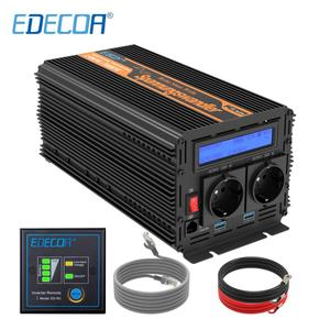 Image 1 - EDECOA pure sine wave power inverter DC 12V to AC 220V 1500W peak 3000W with 5V 2.1A USB remote control LCD display