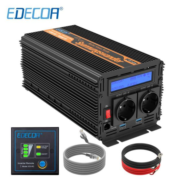 EDECOA pure sine wave power inverter DC 12V to AC 220V 1500W peak 3000W with 5V 2.1A USB remote control LCD display