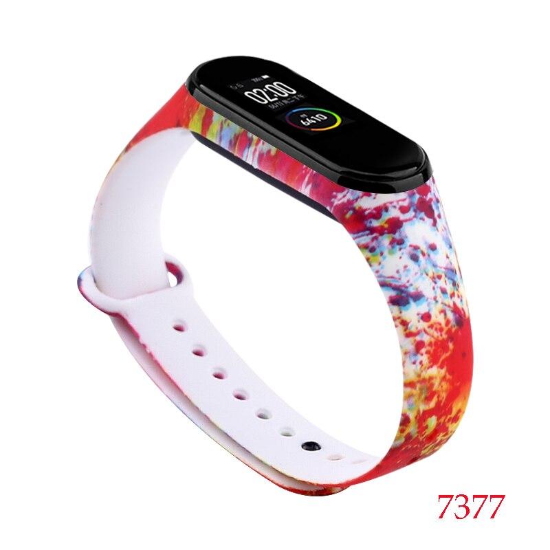 Для Xiaomi Mi Band 4/3 ремешок Металлическая пряжка силиконовый браслет аксессуары miband 3 браслет Miband 4 ремешок для часов М - Цвет: 7377