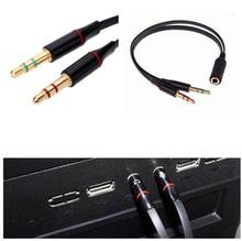 Earphone 3.5Mm Dual 2 Laki-laki Ke Perempuan Plug Jack Audio Stereo Headset Mic Y Splitter Kabel untuk Ponsel pc Headphone Adaptor(China)