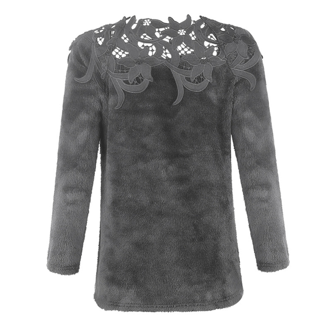 sweater  Autumn and winter ladies lace stitching solid color long-sleeved sweater 8