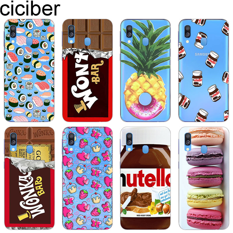 ciciber Cover for <font><b>Samsung</b></font> <font><b>Galaxy</b></font> A50 A70 A40 A30 <font><b>A20</b></font> A60 A10 A20e A80 Phone Cases Soft Silicone TPU Coque Chocolate Sushi Fundas image