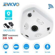 Evkvo魚眼レンズvrドームフルhd 1080p 360度vrパノラマwifi ipカメラcctvのホームセキュリティビデオ監視bbayモニター