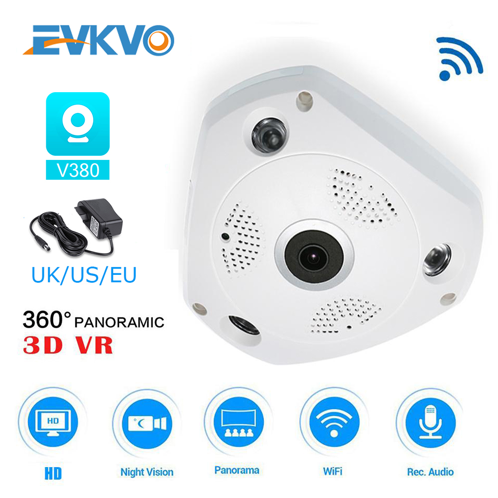 EVKVO V380 APP Fisheye VR Dome Full HD 1080P 360 Degree VR Panorama WIFI IP Camera CCTV Indoor IR Night Vision Memory Card Slot