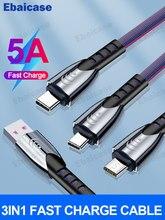 Ebaicase 3 IN 1 USB C Kabel Typ C Kabel Für iPhone 12 11 Pro Max 5A Schnelle Ladung 8 pin Micro USB Kabel Für Samsung Xiaomi Huawei