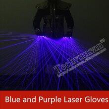 Blau lila laser handschuhe Individualität kreativität Bühne requisiten Leucht handschuhe Laser Dance Ausrüstung für Musik Festival