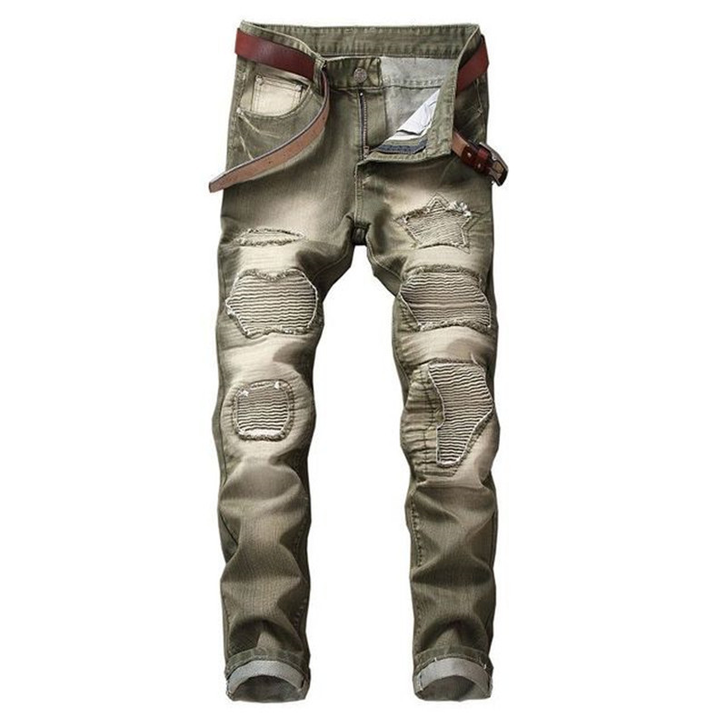 Fashion Men`s Motorbike Motorcycle Jeans Denim Trousers Cool Teens Youth Boys Washed Holes Pleated Male Straight Pants 29-42 (14)