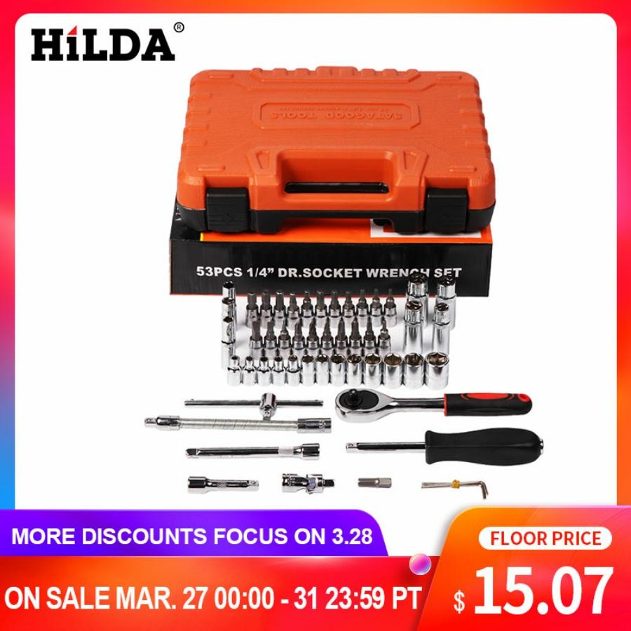 HILDA 53 Pcs Car Repair Tool Sets Batch Head Ratchet Pawl Socket Spanner Screwdriver Socket Set Combination Tool Wrench Set