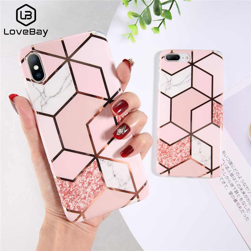For IPhone 7 8 Plus 6s Geometric Marble Texture Phone Case For IPhone X XS 6 6S 7 8 Plus Plating Mirror Soft Silicone Cover Case