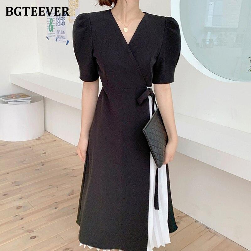 Женское платье с v образным вырезом BGTEEVER, винтажное плиссированное платье трапециевидной формы со шнуровкой, 2020|Платья|   | АлиЭкспресс