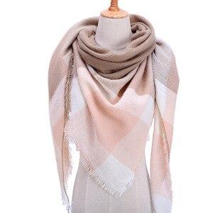 Image 2 - Plaid couleur Simple femmes écharpes 2019 triangulaire 140*140*210cm cachemire chaud automne hiver châles enveloppes écharpe pour les femmes