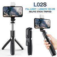 Sem fio bluetooth-compatível selfie vara led anel luz extensível handheld selfstick monopé tripé para ios android