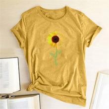Sunflower Printed Funny T Shirts Women Short Sleeve O Neck T-shirts Harajuku Aesthetics Graphic