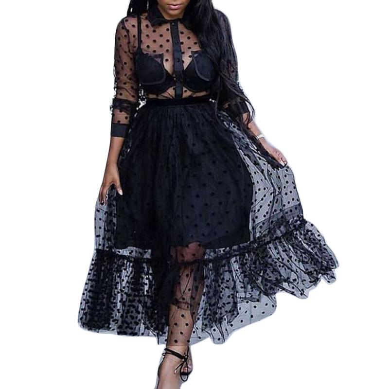 Black New Fashion Points Illusion Cocktail Dresses Long Sleeves Women Party Gown Ball Gown Dress Plus Size In Stock ESAN261