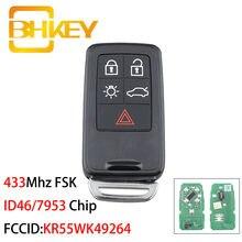BHKEY KR55WK49264 Inteligente Chave Do Carro para a Volvo XC60 S60 S60L V40 V60 S80 XC70 KYDZ ID46 5 Botões 433Mhz FSK/7953 Chip
