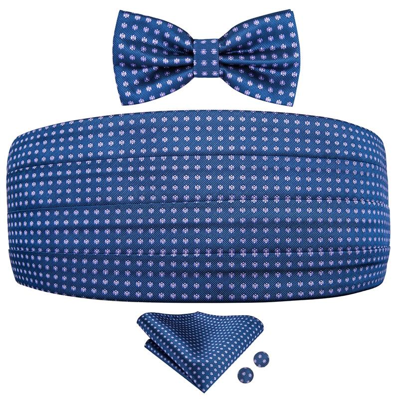 YF-2002 Hi-Tie Luxury Silk Men's Formal Wedding Party Polk Dot Cummerbund Bow Tie Hanky Cufflinks Set Tuxedo Cummerbunds Blue