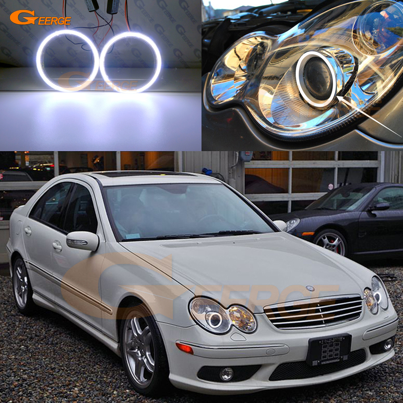 Ultra bright COB led angel eyes halo rings DRL For <font><b>Mercedes</b></font> <font><b>Benz</b></font> C-CLASS W203 <font><b>C230</b></font> C320 C350 C55 C32 2001-2007 Xenon headlight image