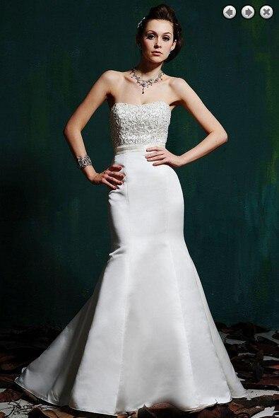 Free Shipping Simple Robe De Soiree 2014 New Fashion Zipper Bridal Gowns Plus Size Sweetheart Satin Beaded Mermaid Wedding Dress