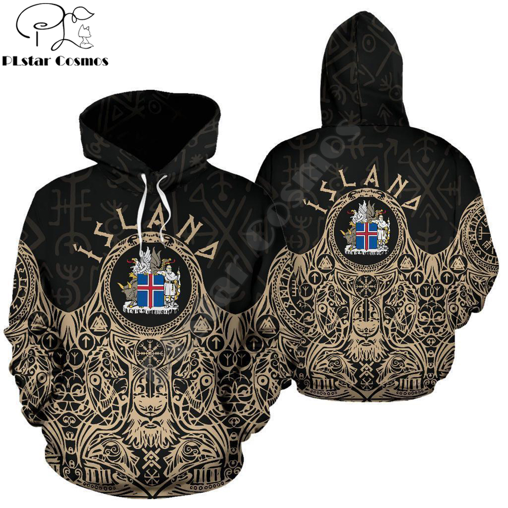 Iceland Vikings Coat Of Arms Hoodie Golden Harajuku Fashion Sweatshirt And Hoodies Unisex Casual Jacket Pullover DW0027