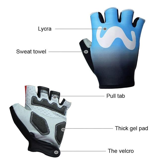 2020 pro equipe luvas de bicicleta gel acolchoado metade do dedo das mulheres dos homens verão esportes à prova choque anti deslizamento mtb ciclismo luvas 5