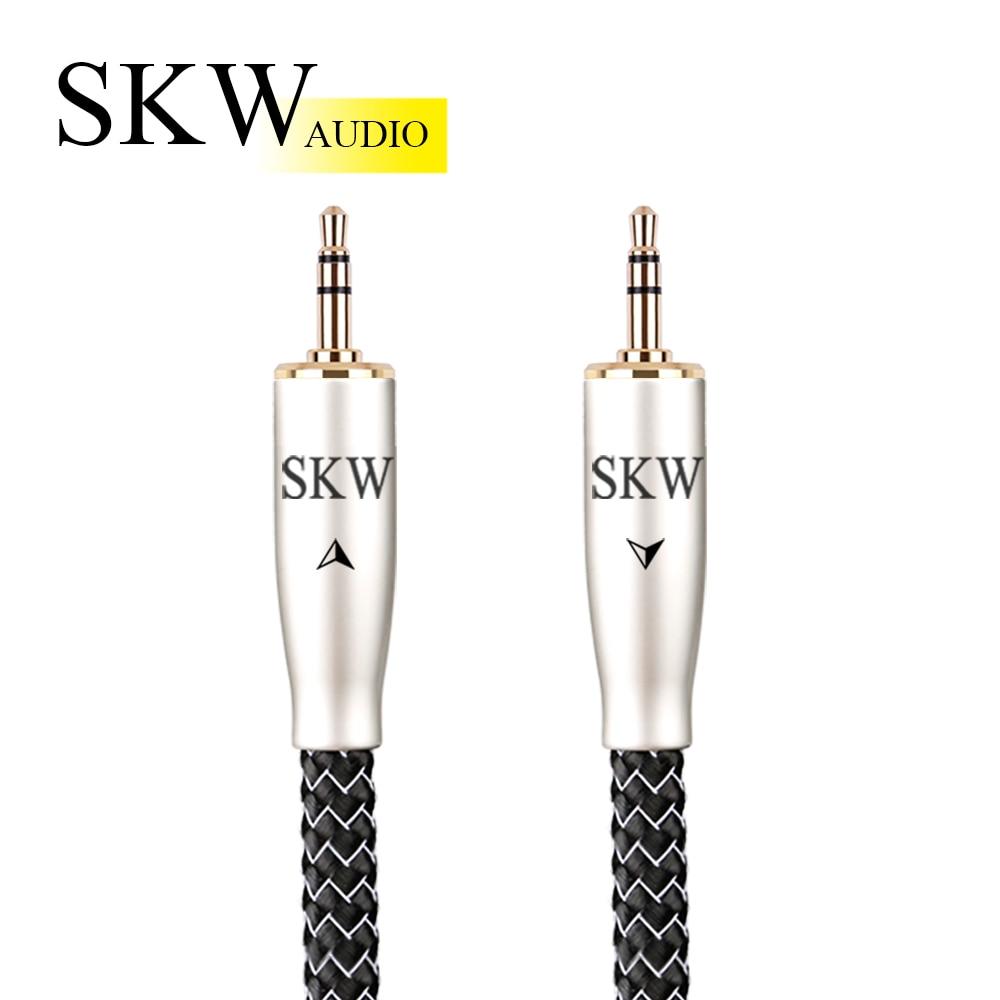 Skwi auxケーブル 3.5 ミリメートルオーディオケーブル 3.5 ミリメートルジャック銀メッキocc導体電話接続車のコンピュータ接続スピーカーボックス