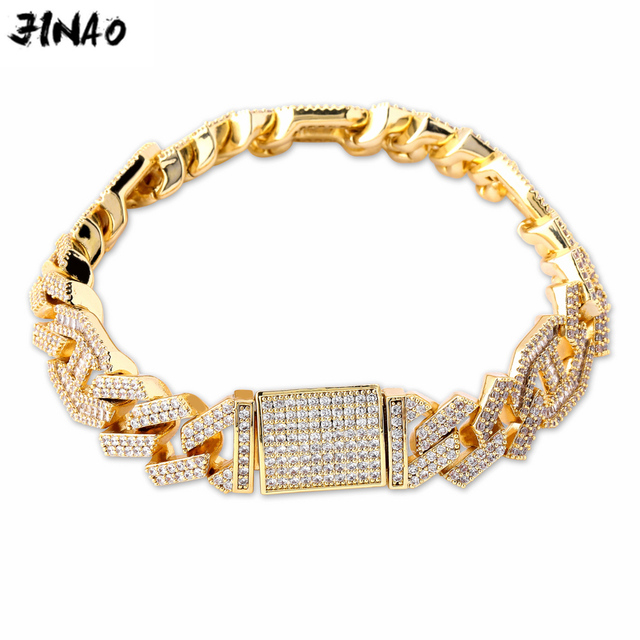 """JINAO  New Style Male Jewelry Bracelet Hip Hop Rock Copper Gold Color Plated Iced Out CZ Stone 14mm Bracelets With 7"""" 8"""""""