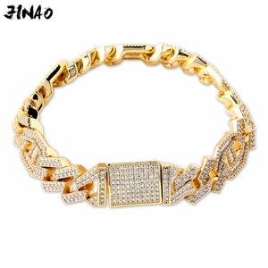 """Image 1 - JINAO Новый стильный мужской ювелирный браслет, хип хоп Рок Медный позолоченный ледяной CZ камень 14 мм браслеты с 7 """"8"""""""