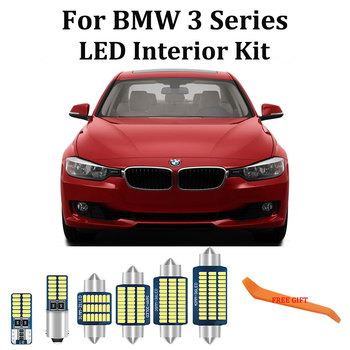 100% White Error Free LED bulb Interior Light + License Plate Lamp Kit For BMW E36 E46 E90 E91 E92 E93 M3 (1990-2013) image