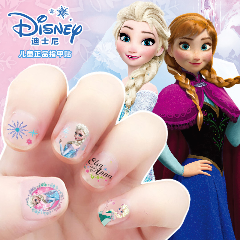Genuino 5 uds niñas congelados Elsa Anna maquillaje juguetes pegatinas de uñas Disney nieve blanca princesa Sophia Mickey Minnie niños pegatinas