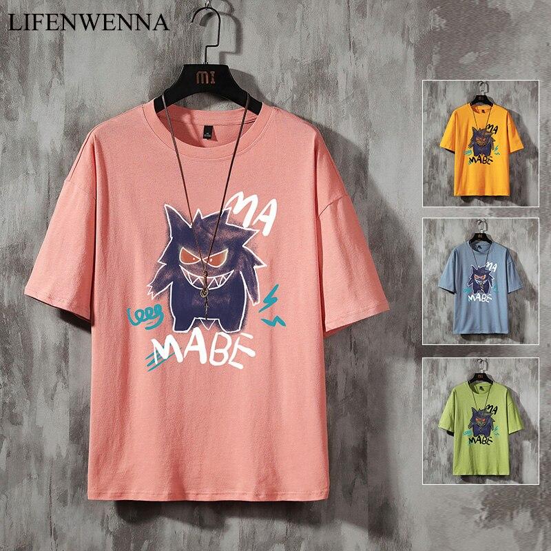 LIFENWENNA T Shirt Men Printed Tshirt O-Neck Short Funny Mens Shirts T Shirts Pokemon-Pikachu Men Tops Tees Hip Hop Streetwear