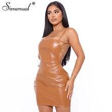 Simenual Backless Faux PU skóra sukienka w rozmiarze Skinny pasek kobiety Bodycon Sexy Hot odzież do klubu nocnego moda szczupła stałe Party Mini sukienki